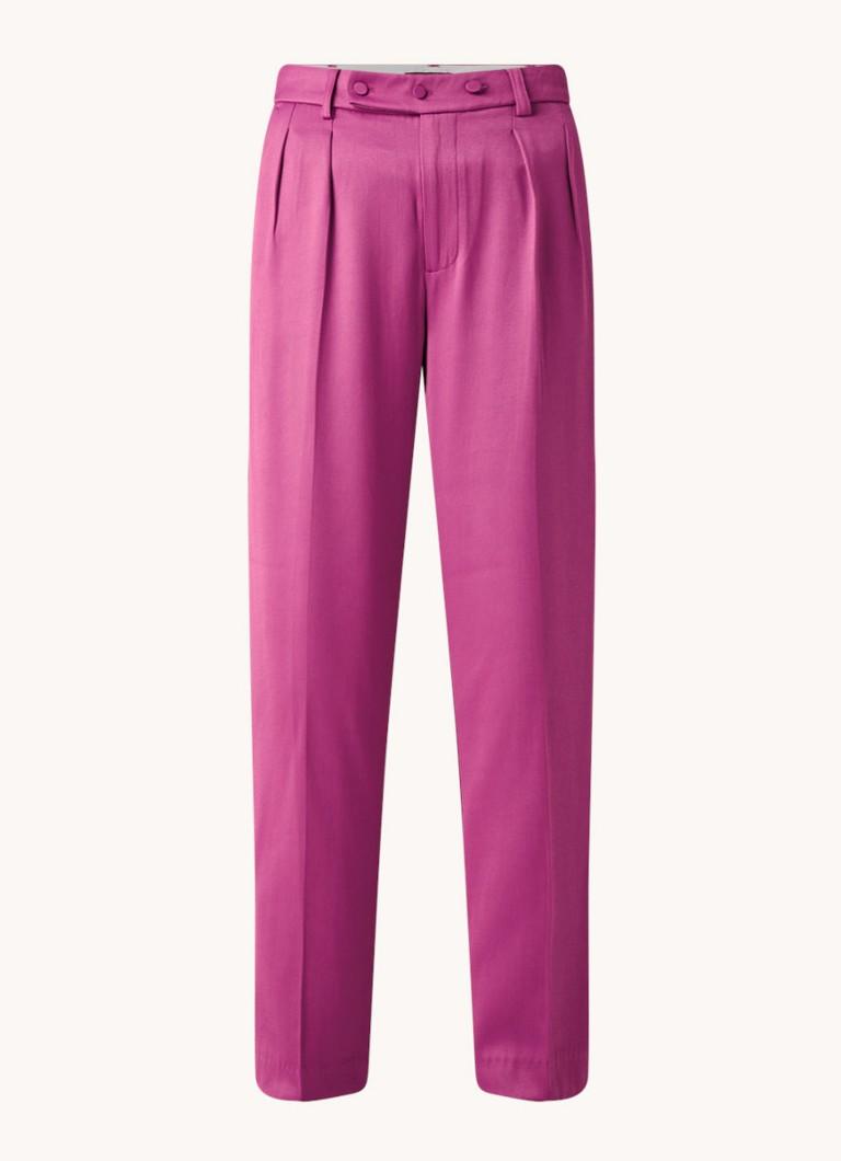 High waist loose fit pantalon met persplooi