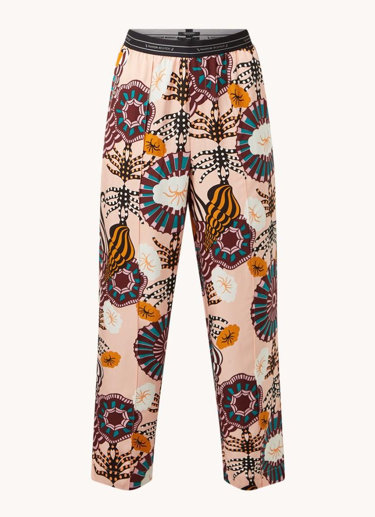 High waist loose fit pantalon in lyocellblend met print