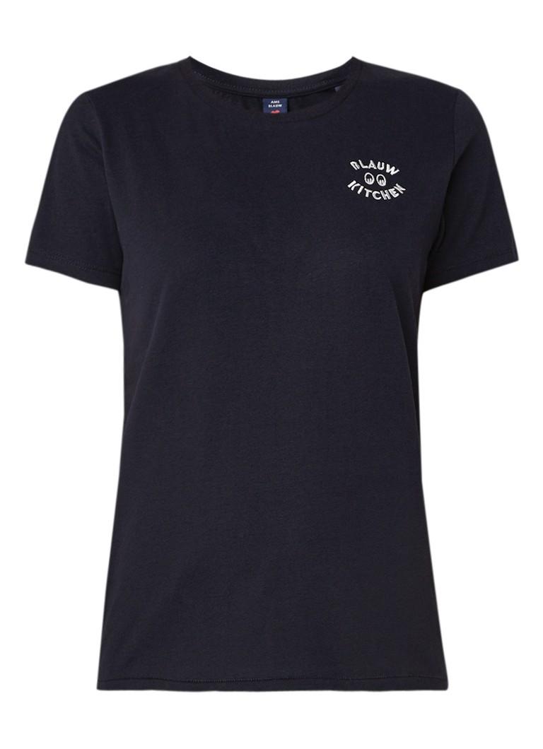 Scotch and Soda Amsterdams Blauw T-shirt met borduring