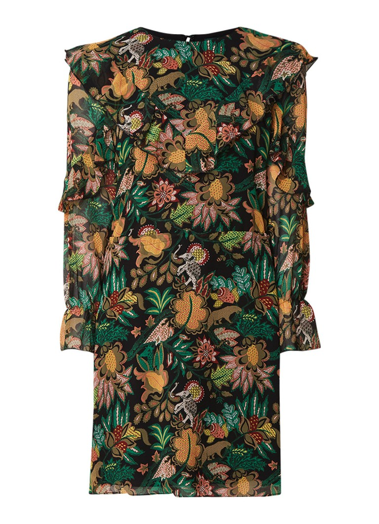 Scotch & Soda Midi-jurk met bloemendessin en strikceintuur multicolor
