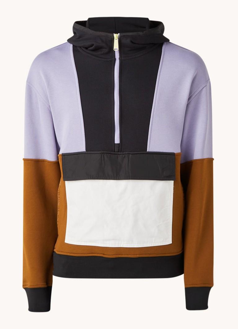 Scotch & Soda Katoenen hoodie met colourblock en halve rits online kopen