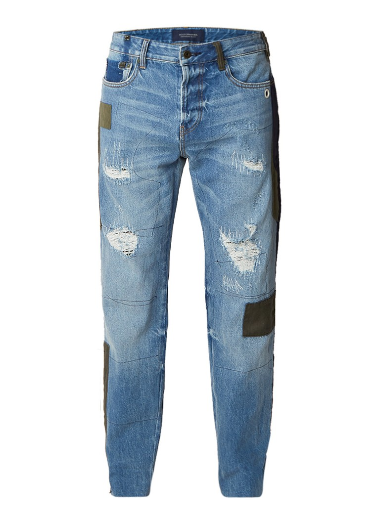 Scotch and Soda Dean Custom jeans met destroyed look