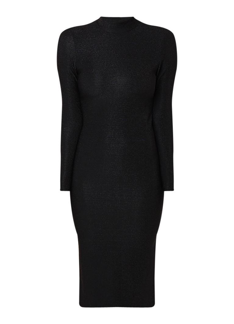 Samsøe & Samsøe Jennie fijngebreide midi-jurk met lurex zwart