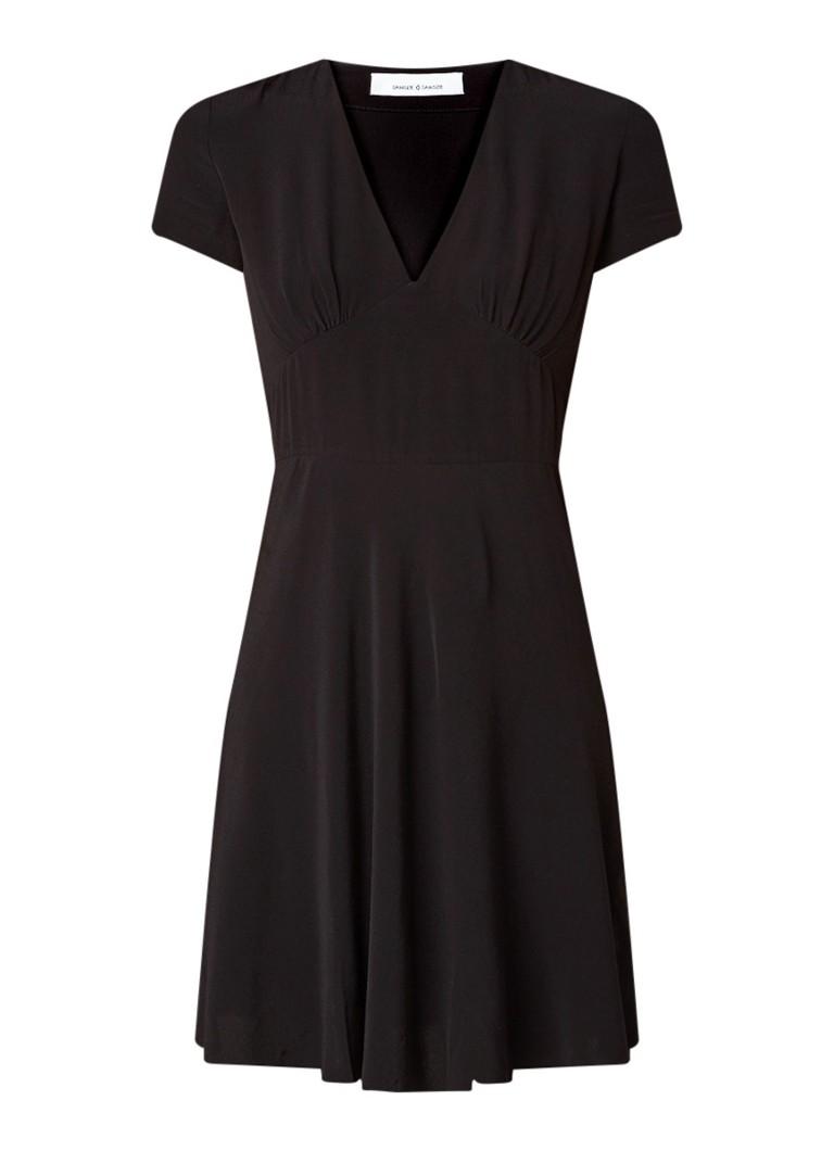 Samsøe & Samsøe Cindy mini A-lijn jurk van crêpe zwart