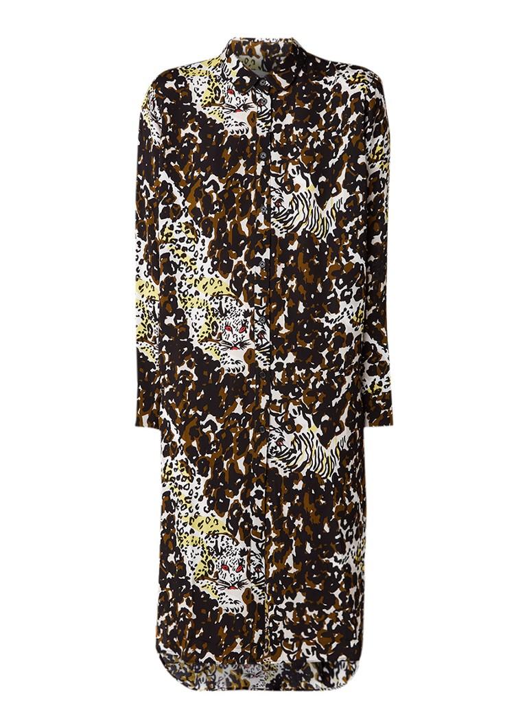 Samsøe & Samsøe Rissy blousejurk met luipaarddessin donkergroen