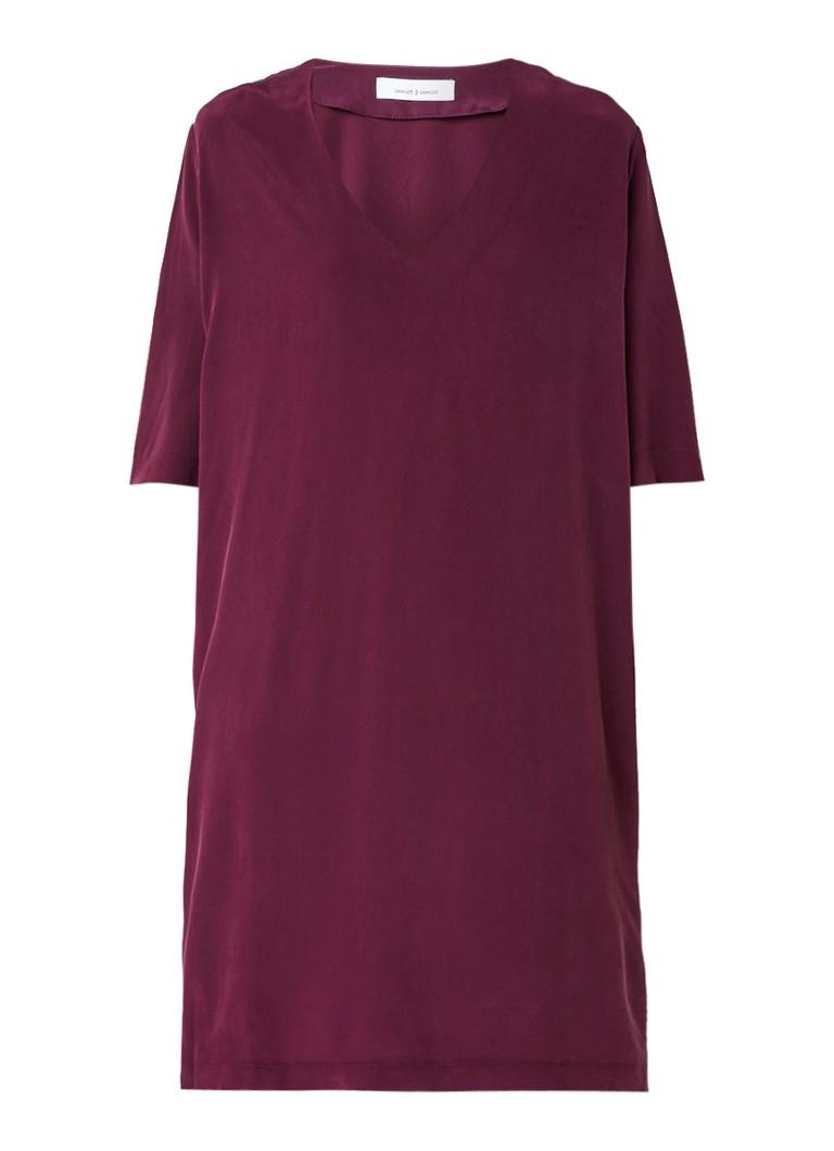 Samsøe & Samsøe Linne jurk van zijde met V-hals paars