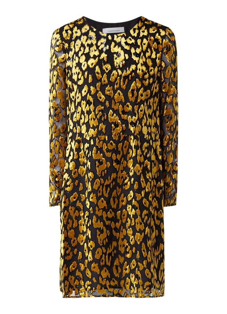 Samsøe & Samsøe Kayla midi-jurk met flockprint geel