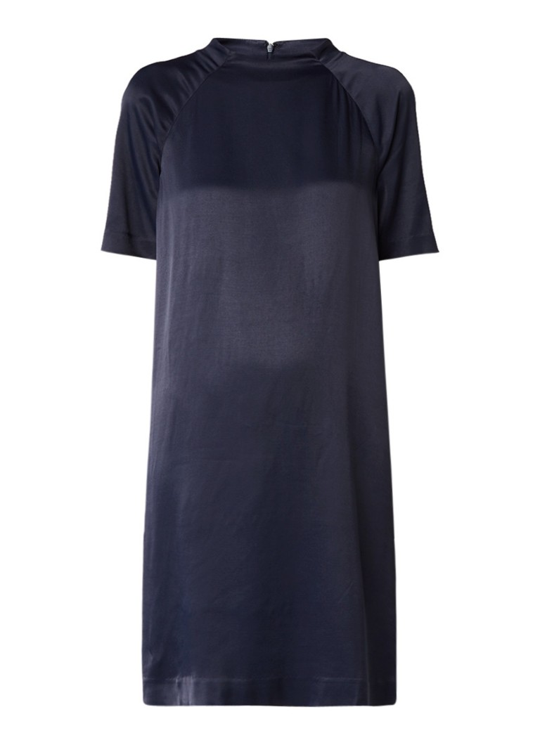 Samsøe & Samsøe Madeline midi jurk van satijn met raglanmouw donkerblauw