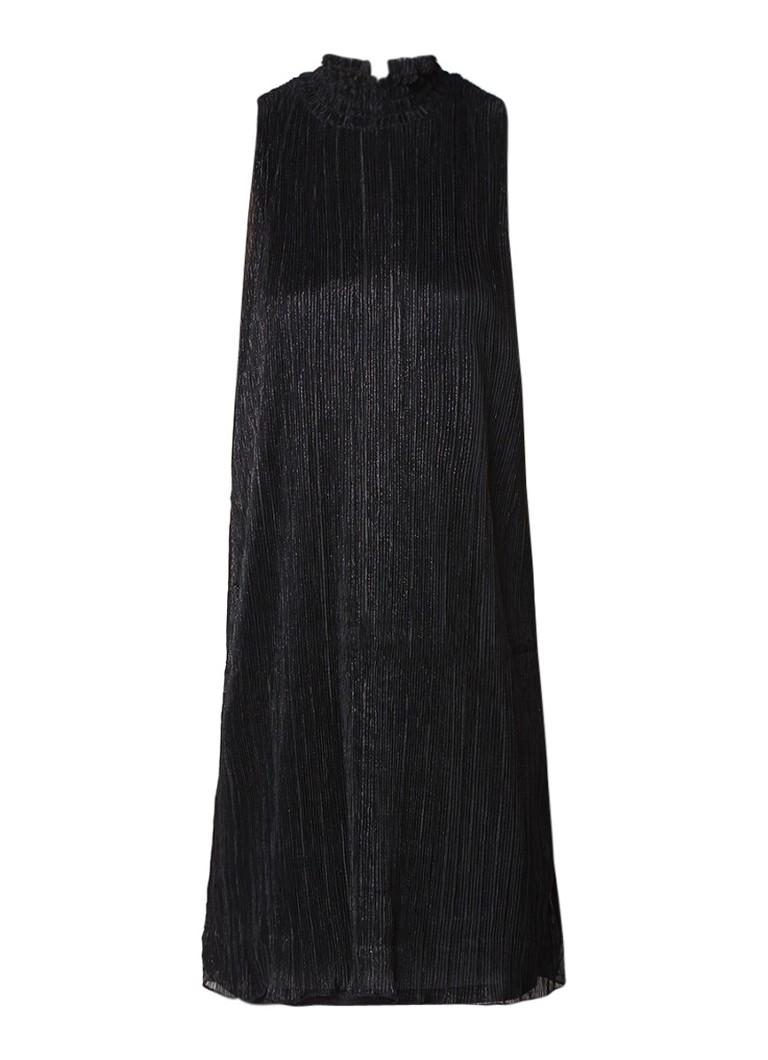 Samsøe & Samsøe Elvira mouwloze plissé jurk met lurex zwart