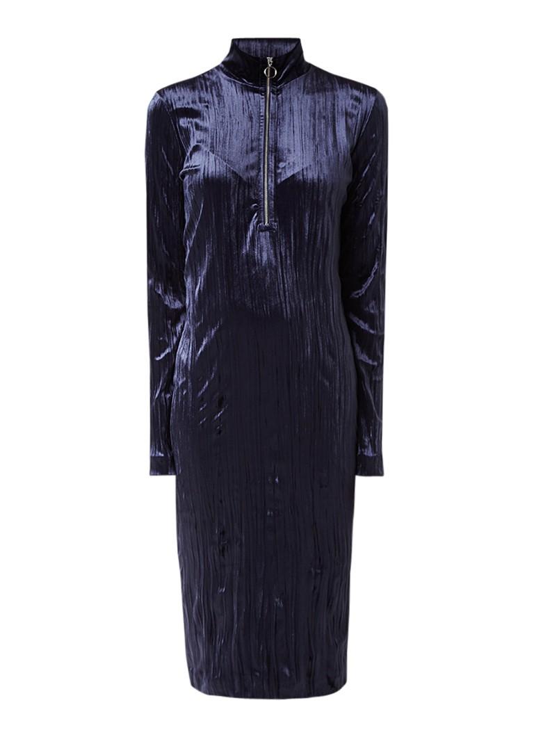 Samsøe & Samsøe Ziva jurk van fluweel met ritsdetail donkerblauw