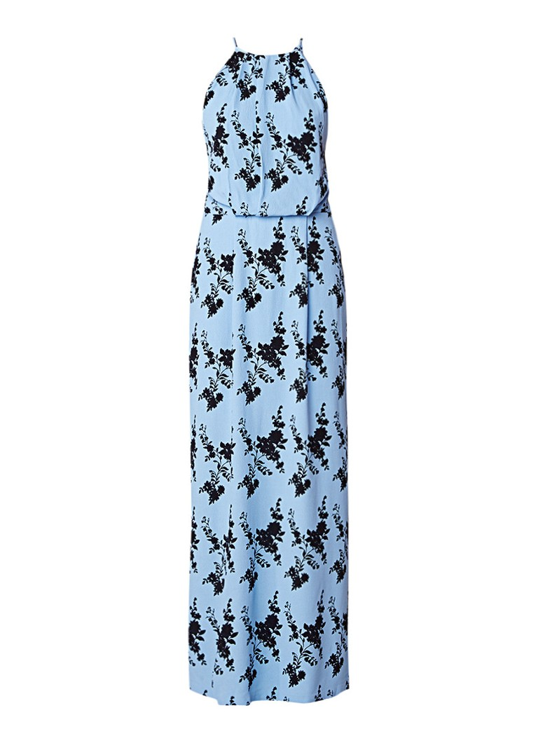 Samsøe & Samsøe Willow maxi-jurk met detail van kant en bloemendessin lichtblauw