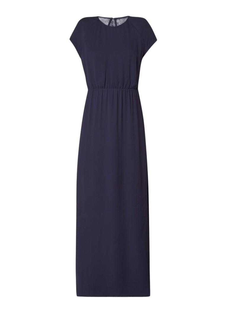 Samsøe & Samsøe Reya maxi-jurk met kant en rugdecolleté donkerblauw