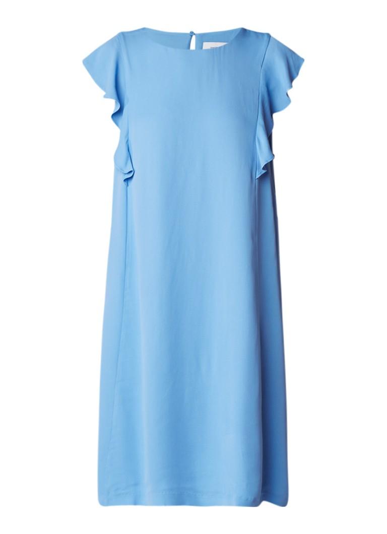 Samsøe & Samsøe Mentha midi-jurk van crêpe met volant lichtblauw