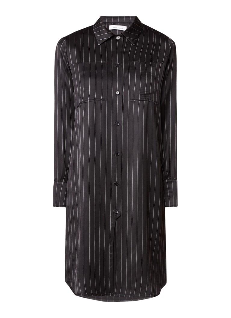 Samsøe & Samsøe Bette blousejurk met krijtstreep zwart