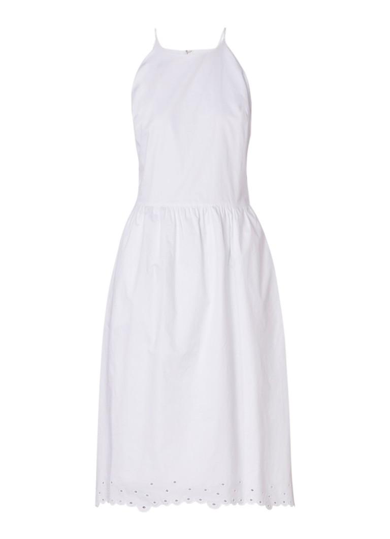 Samsøe & Samsøe Leonie A-lijn jurk broderie en geschulpte zoom wit