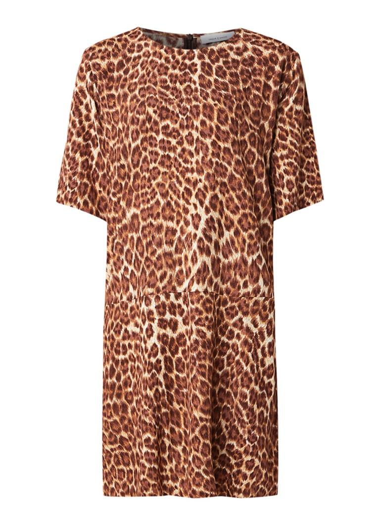 Samsøe & Samsøe Adelaide loose fit midi-jurk met luipaarddessin bruin