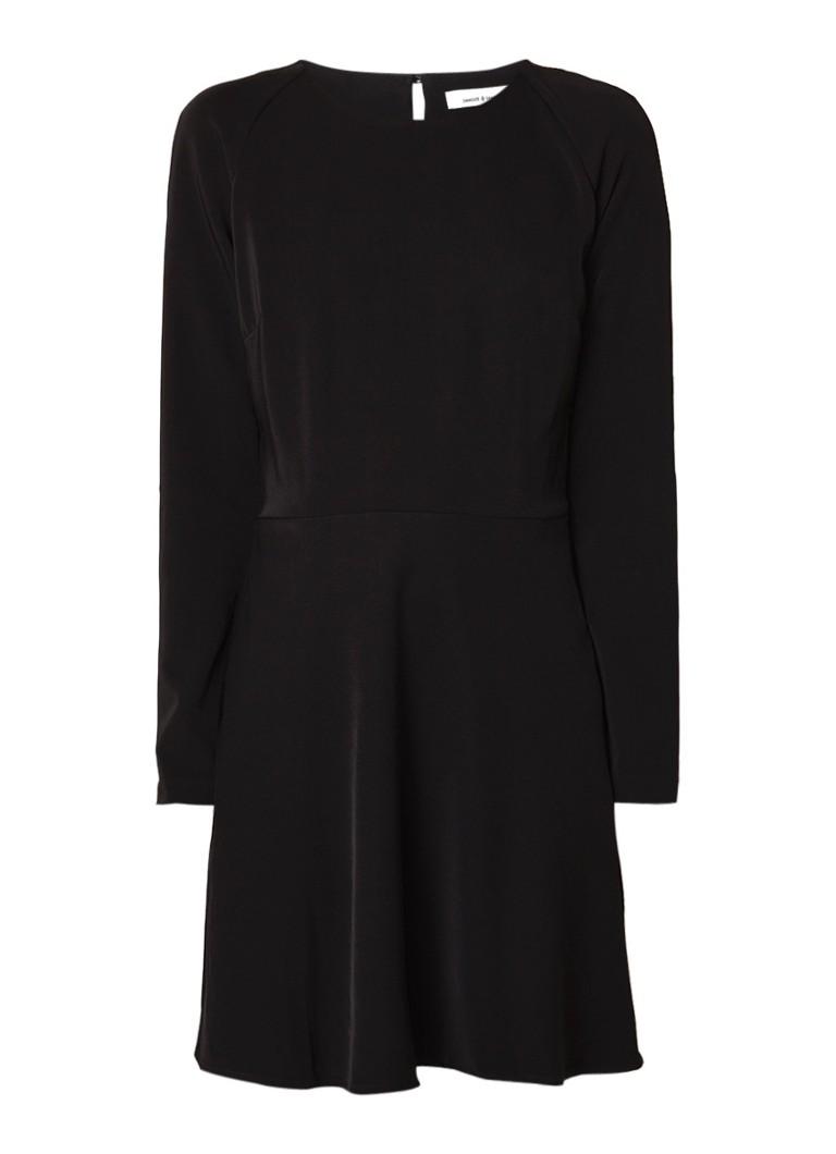 Samsøe & Samsøe Zambia A-lijn midi-jurk met keyhole zwart