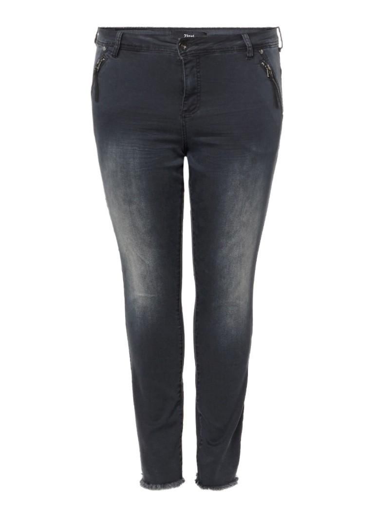 Zizzi Nille cropped skinny jeans met rafelige zoom blauw