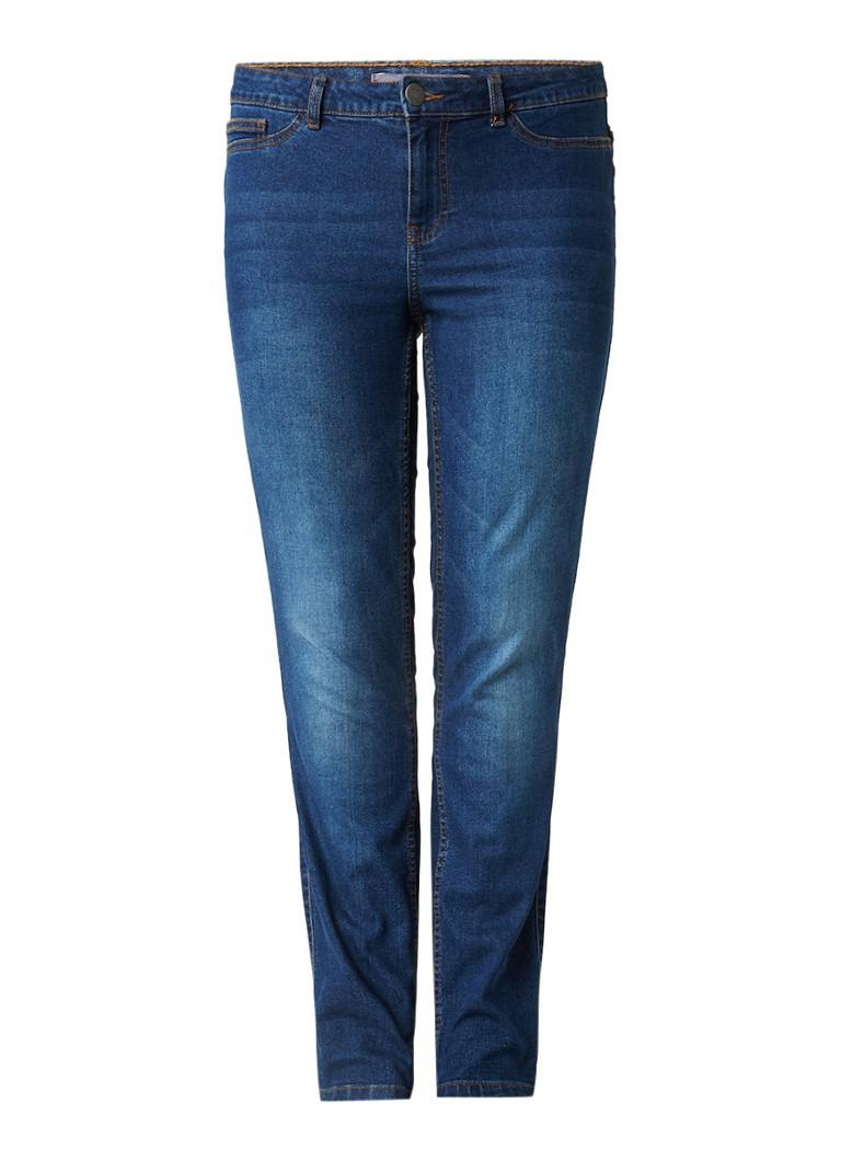 Junarose Queen mid rise slim fit jeans met donkere wassing zwart