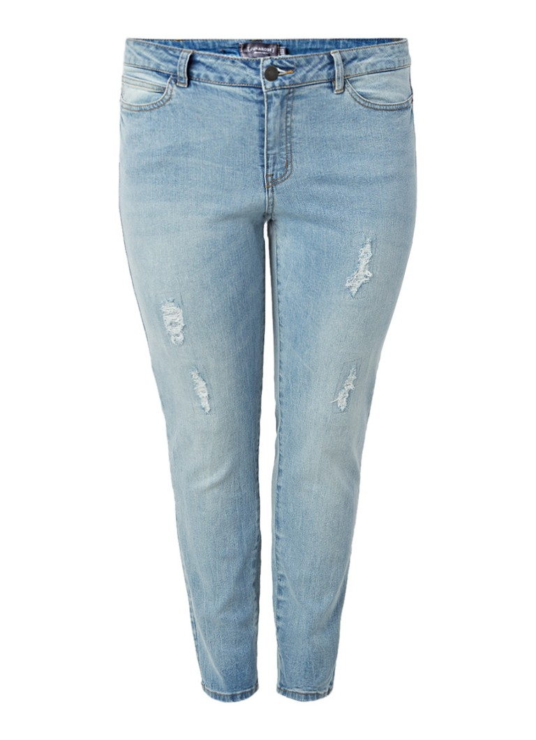 JUNAROSE Slim fit ankle jeans met destroyed details