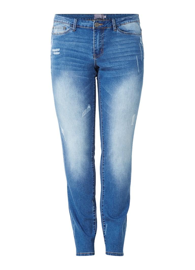 Junarose Five high rise slim fit jeans met destroyed details zwart