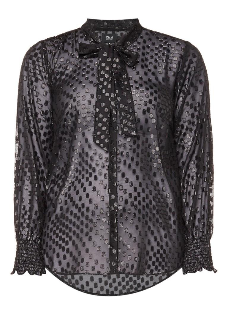 Zizzi Semi-transparante blouse met metallic dessin blauw