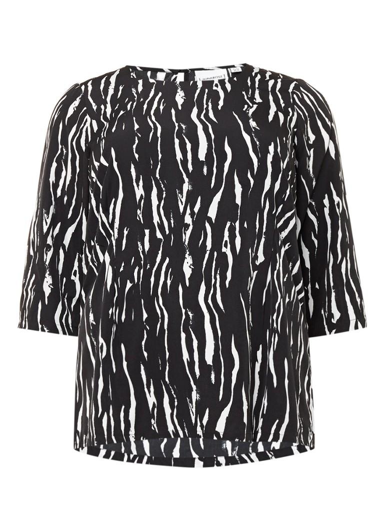 Junarose Ninal top met zebraprint zwart