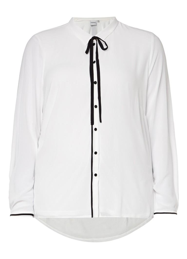 Junarose Nilan blouse met strikkraag en contrasterende details zwart