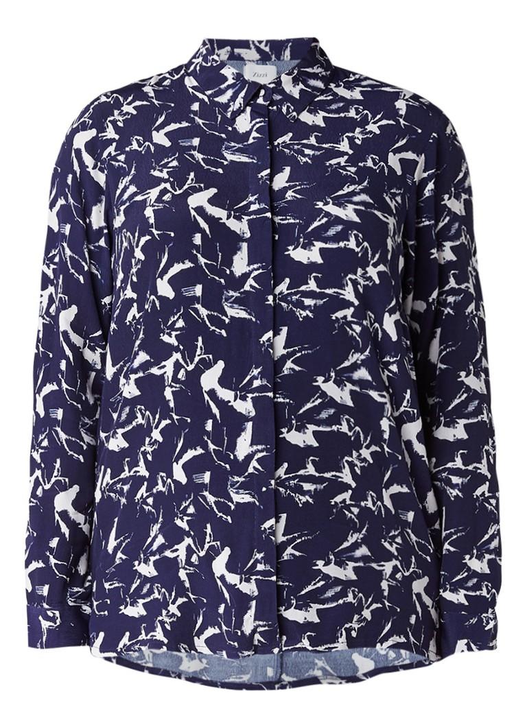 Zizzi Soepelvallende blouse met dessin blauw