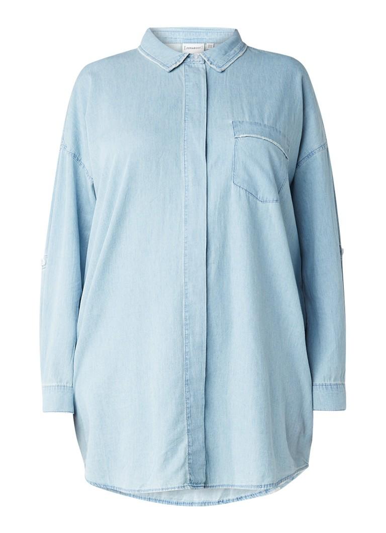 Junarose Ruta denim blouse met verstelbare mouw zwart