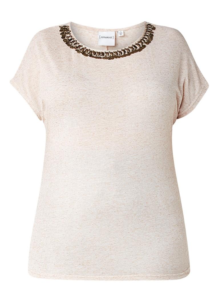 Junarose Ragchild T-shirt met kapmouw en kralenhals zwart