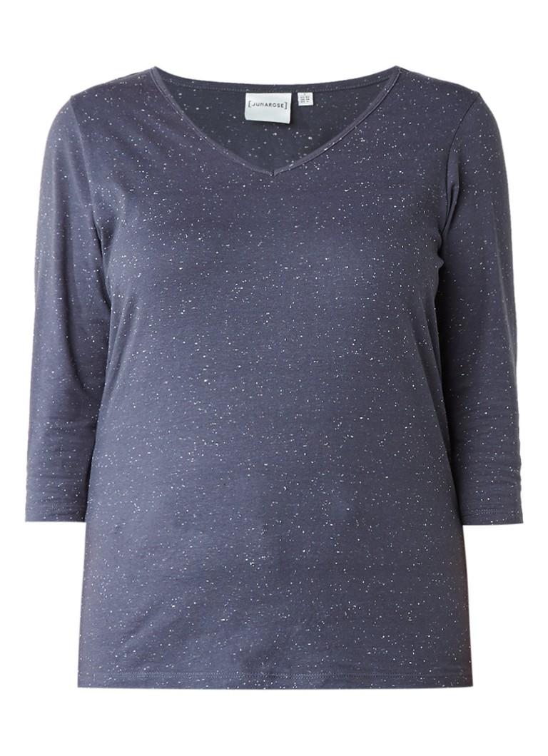 Junarose Clair T-shirt met V-hals en driekwartsmouwen zwart