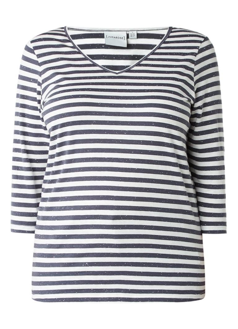 Junarose Clair T-shirt met driekwartsmouwen en streepdessin zwart