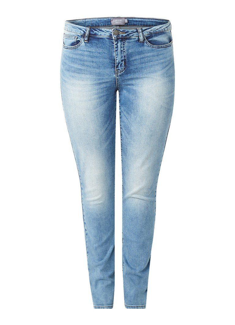 Junarose Five high rise slim fit jeans met stretch zwart