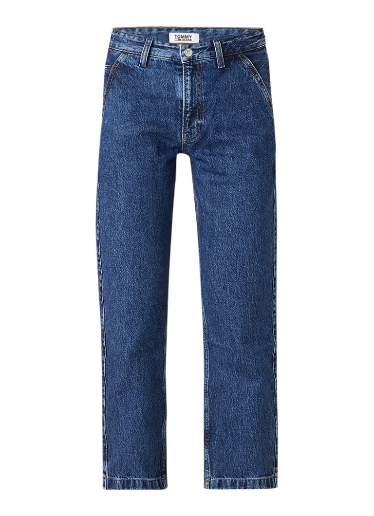 Image of Tommy Hilfiger High rise cropped boyfriend jeans met donkere wassing