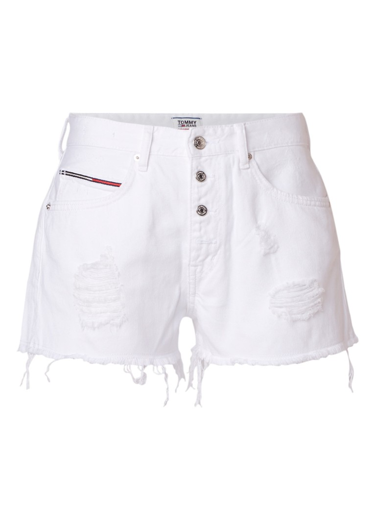 Tommy Hilfiger High rise denim shorts met destroyed details