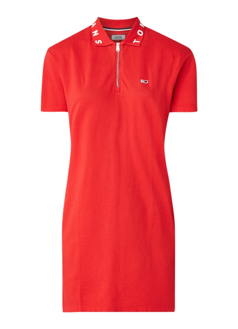 Tommy Hilfiger Polo jurk met ingebreid logo rood