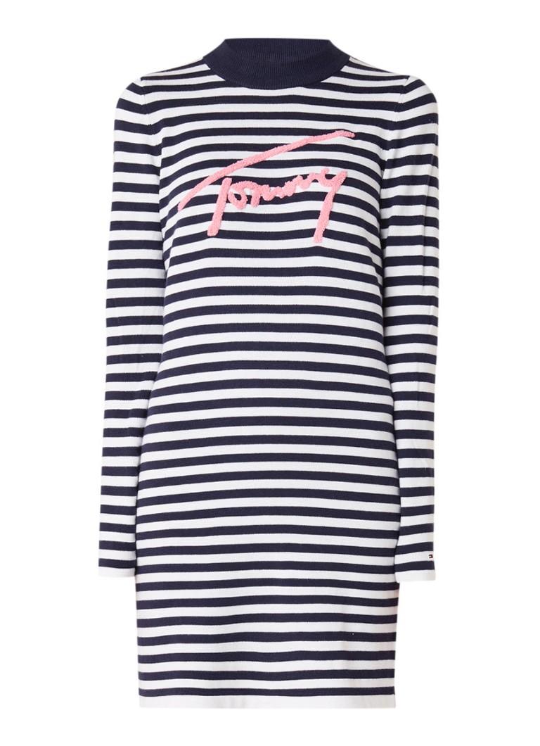 Tommy Hilfiger Fijngebreide trui-jurk met streepdessin en logo boduring donkerblauw