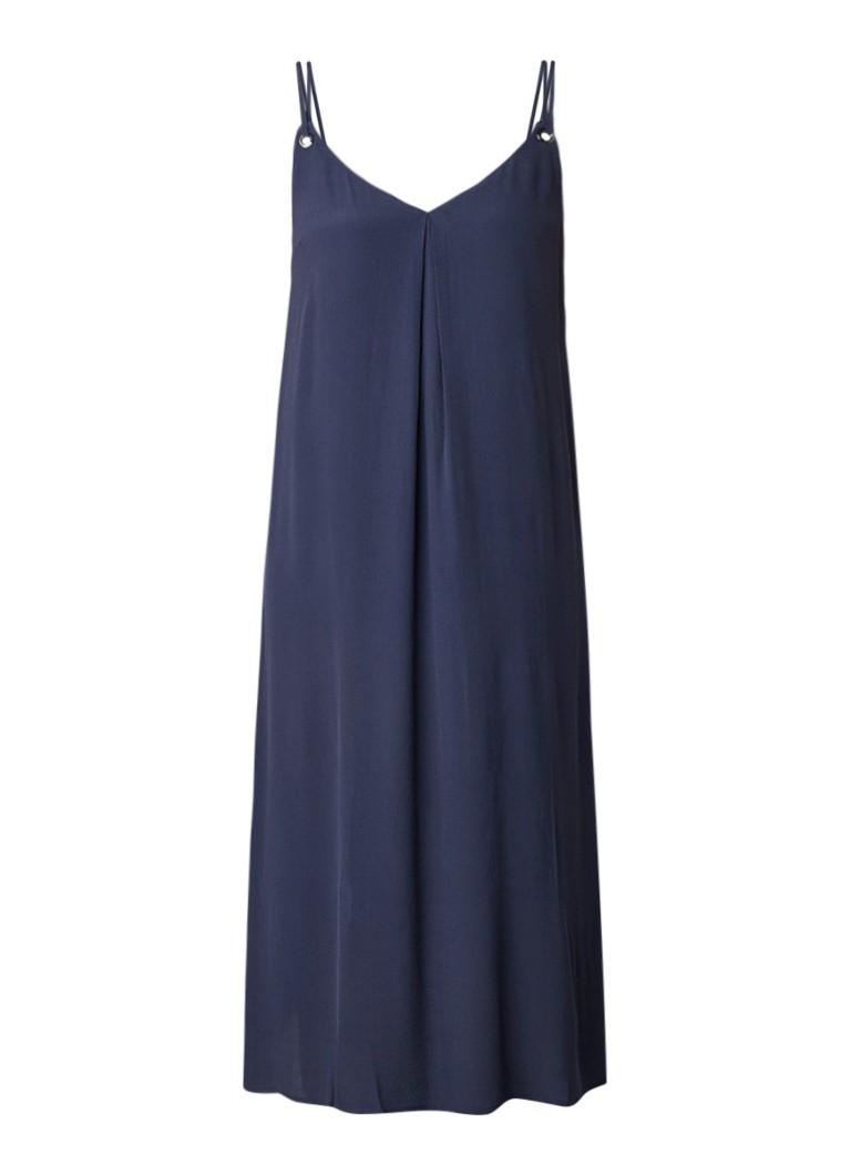 Tommy Hilfiger Loose fit midi-jurk met spaghettibandjes donkerblauw