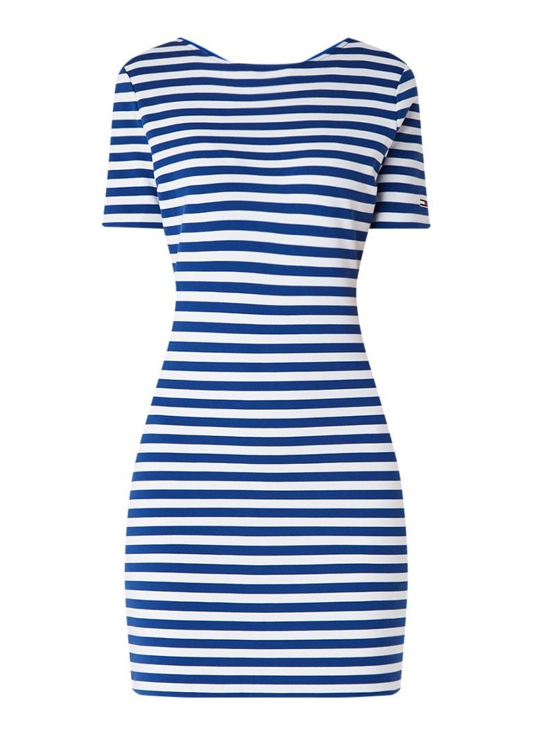 Tommy Hilfiger Jersey jurk met streepdessin en rugdecolleté royalblauw