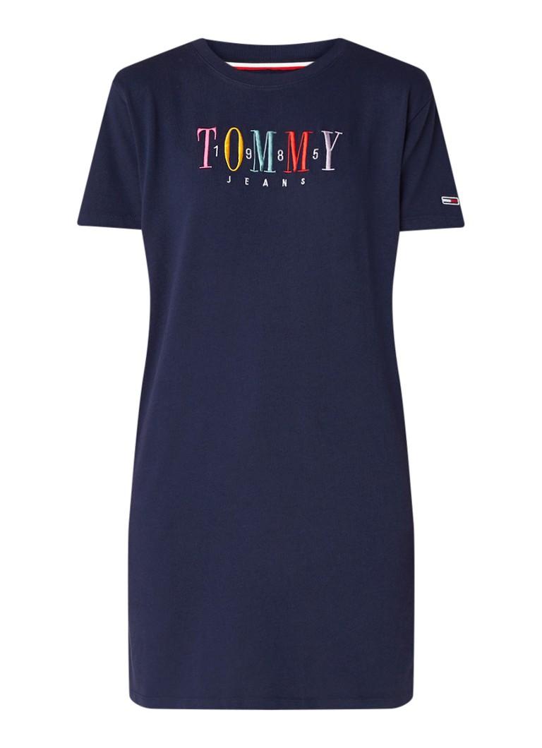 Tommy Hilfiger T-shirt jurk met logoborduring donkerblauw