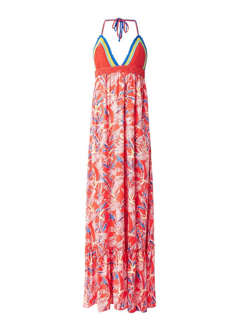 Tommy Hilfiger Maxi-jurk met met gebreide top en ruches rood