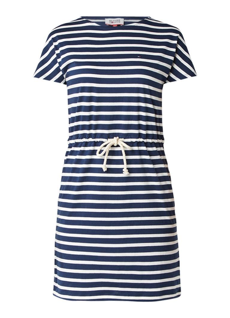 Tommy Hilfiger T-shirt jurk met taillekoord en streepdessin donkerblauw
