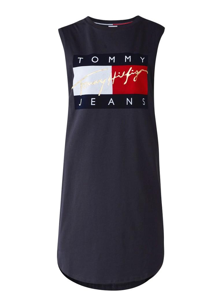 Tommy Hilfiger 90's mouwloze jurk met logo in flockprint donkerblauw