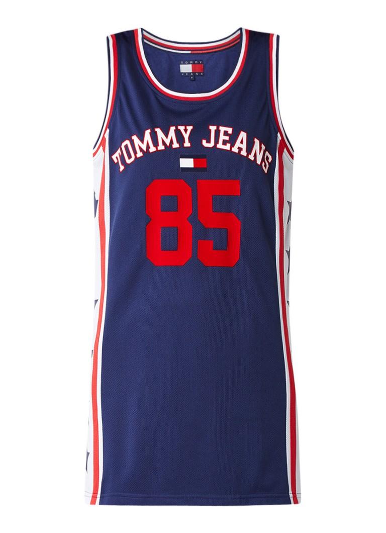 Tommy Hilfiger 90's basketbal jurk met logo in flockprint donkerblauw