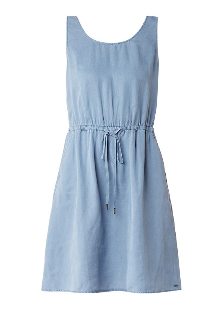 Tommy Hilfiger A-lijn jurk met tunnelkoord blauwgrijs