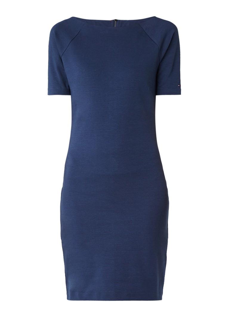 Tommy Hilfiger Jersey midi-jurk met halflange mouw blauw