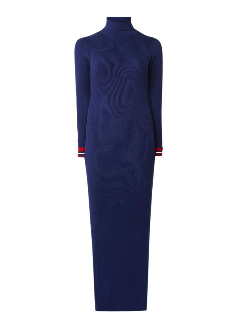 Tommy Hilfiger Ribgebreide maxi-jurk met contrasterende boord donkerblauw