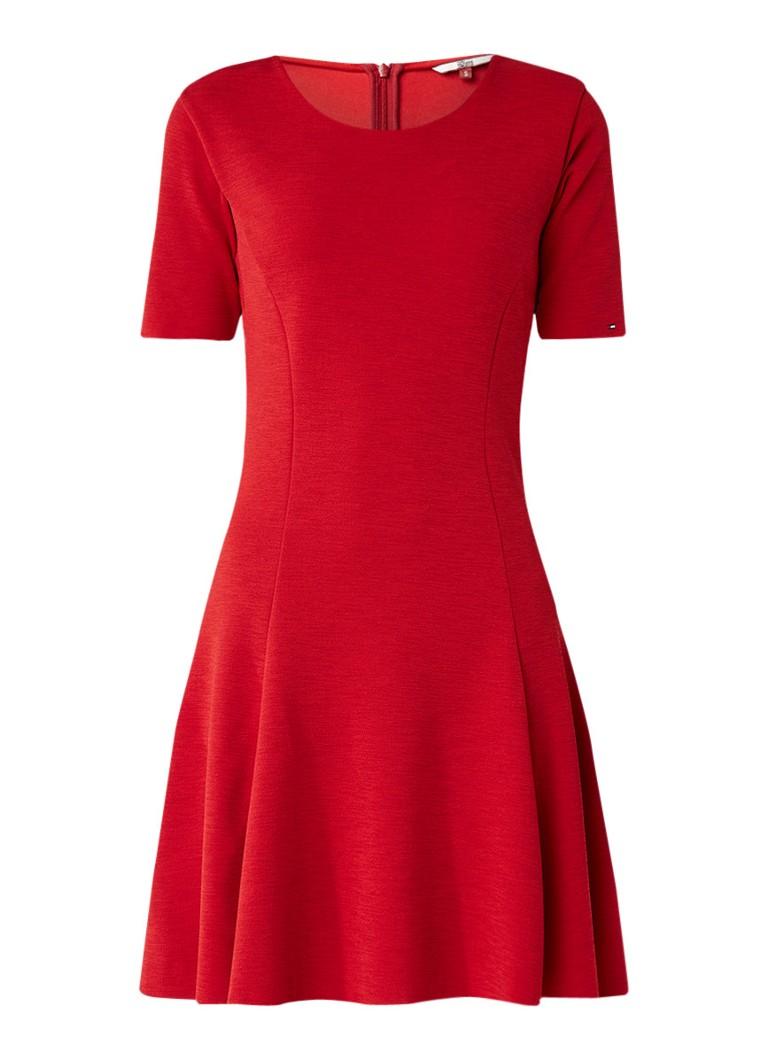 Tommy Hilfiger Midi A-jurk met ronde hals rood