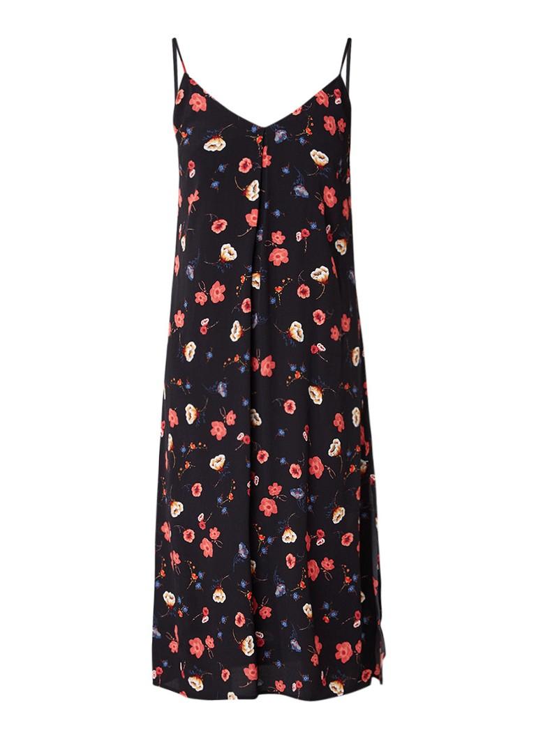 Tommy Hilfiger Midi-jurk met split en bloemendessin zwart
